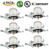 6 Pieces 6'' New Construction LED Can Air Tight IC Housing LED Recessed Lighting