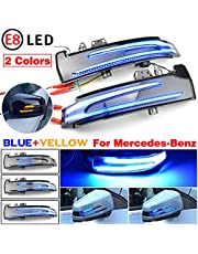 QKLsudua 2pcs Dynamic Sequential Blink Compatible with Mercedes Benz W204 CLA A B C E S GLA GLK CLS Class W176 W212 LED Side Mirror Turn Signal Light Assembly-Blue+Yellow