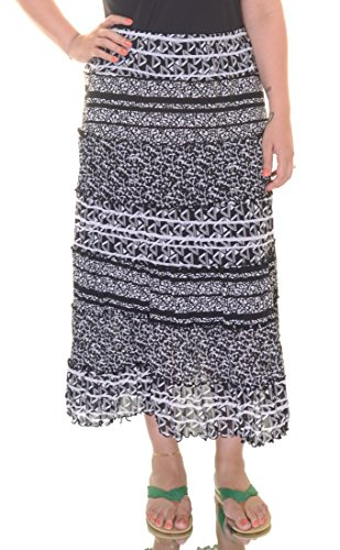 JM Collection Women's Printed Maxi Skirt (Large, Black/White) by JM Collection