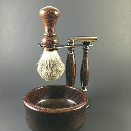 Men's Shaving Kit hand-crafted from Wenge by Always Turning Woodworks