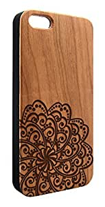 Genuine Maple Wood Organic Abstract Geometric Flower Snap-On Cover Hard Case for iPhone 4/4S