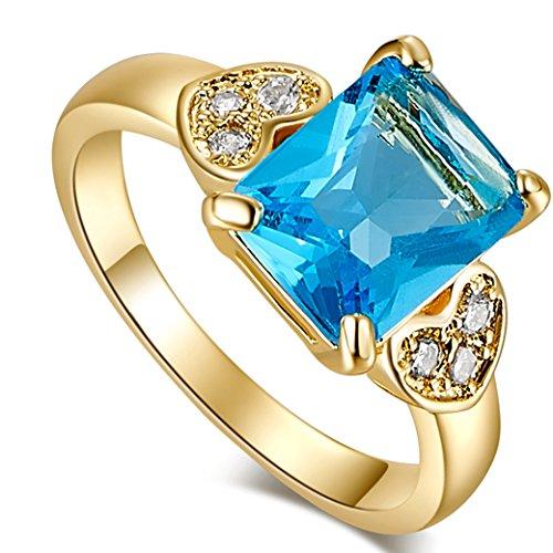 Narica Women's Brilliant Emerald Cut Blue Topaz CZ Wedding Ring Band - Cut Tanzanite Solitaire