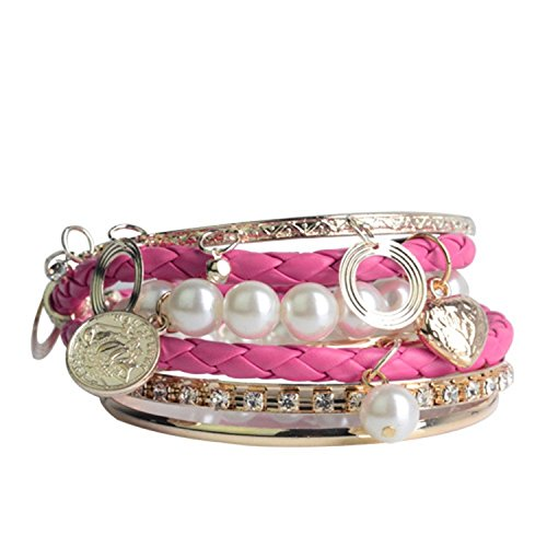 Gold Tone Pearl Charm - Lureme Pink Braided Leather Pearl Charm Crystal Gold Tone Stackable Bangle Bracelet Set for Women 600180