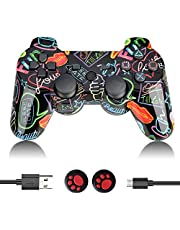 PS3 Controller Wireless, PS3 Controller Double Vibration Gamepad Remote Control Joystick Joypad Compatible with Playstation 3