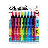 Sharpie ACCENT Highlighter, RETRACTABLE Highlighter Narrow Chisel, 8-Carded, Fluorescent Assorted (28101)