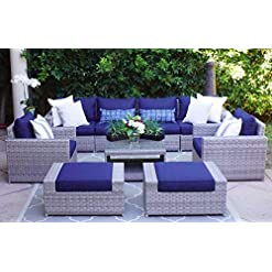Garden and Outdoor SunHaven Resin Wicker Outdoor Patio Furniture Set – Conversation Sectional Premium All Weather Gray Rattan Wicker… outdoor lounge furniture