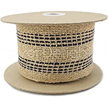 "CleverDelights 3.5"" Jute Webbing - 10 Yards - Natural / Black Color - Jute Burlap Craft Fabric"