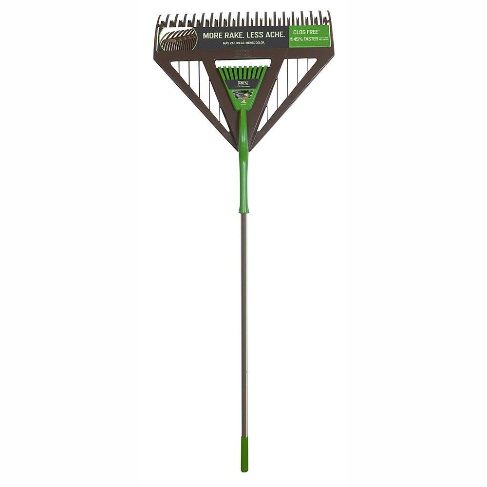 Clog Free, Clean Sweep, 26 in. Rubber Coated Handled Dual Tine Poly Leaf Rake with Removable Hand Rake