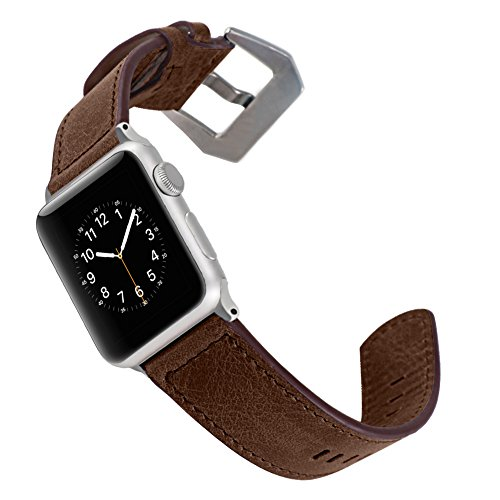 For Apple Watch Strap 42mm SUNKONG Brief Style Leather Watch Band for Apple...
