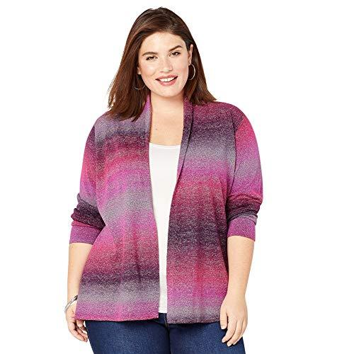 Avenue Women's Ombre Stripe Cardigan, 26/28 Multi Color