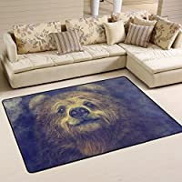 Naanle Animal Area Rug 4x6, Smiling Bear Polyester Area Rug Mat for Living Dining Dorm Room Bedroom Home Decorative