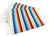 Colorful Fringed Mexican Serape Place Mats Designed in Traditional Mexican Serape Blanket Material. Set of 6 Place Mats (Beige)
