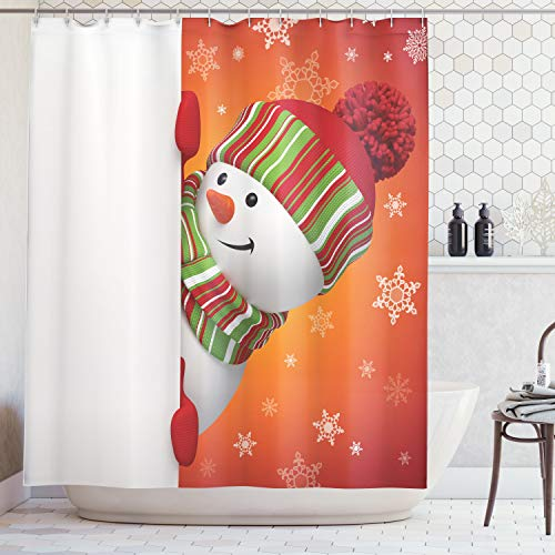 Ambesonne Christmas Shower Curtain Snowman, Cute Christmas Shower Curtain Funny with Mittens and Hat and Scarf Merry Christmas Themed Bathroom Set, Polyester Fabric with Hooks, Red White]()