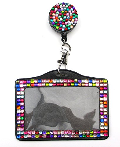 All In One Rhinestone Lanyard Bling Crystal Badge Reel + Card Holder for Business Id Card Horizontal (Colorful)