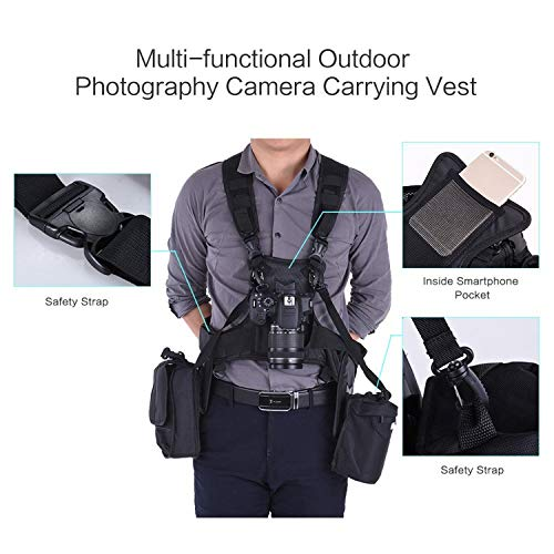 Triple Camera Harness, Micnova Carrying Chest Vest System with Side Holster for Smartphone Lens Canon Nikon Sony DV DSLR Camcorder Tripod Stand Wedding Journalism YouTube Vlog Livestream by Micnova (Image #3)
