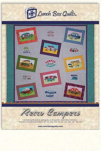 Retro Camper Embroidery Pattern Quilt Pattern Applique Designs Lunch Box Quilts by Lunch Box Quilt