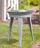 Panacea Vintage Metal Bird Bath and Stand, Galvanized