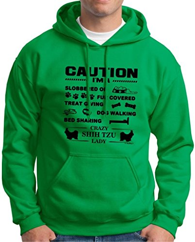 (ThisWear I'm a Crazy Shih Tzu Lady, Dog Lover's Hoodie Sweatshirt XX-Large Green)