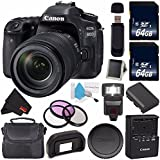 Canon EOS 80D DSLR Camera with 18-135mm Lens 1263C006 (International Version) + 64GB SDXC Class 10 Memory Card + External Flash + Carrying Case + SD Card USB Reader + Memory Card Wallet Bundle