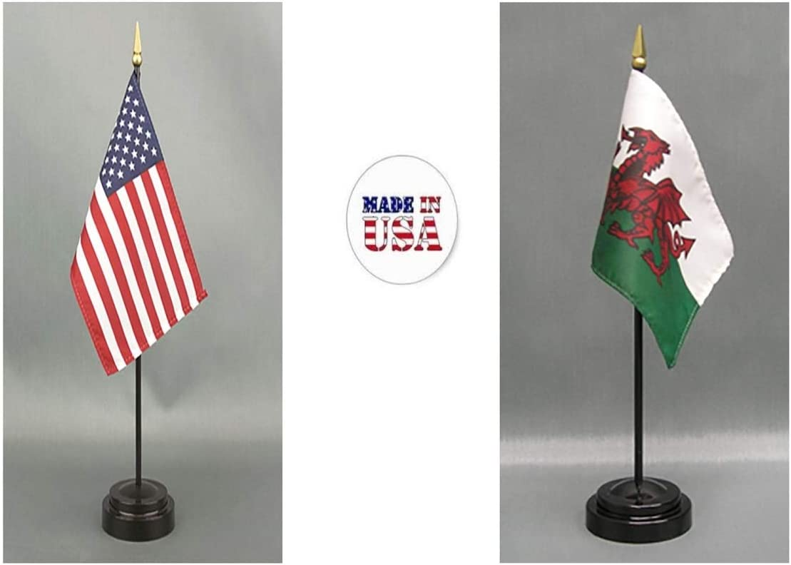 Made in The USA 1 American and 1 International Country Rayon 4x6 Office Desk /& Little Hand Waving Table Flag Tonga Includes 2 Flag Stands /& 2 Small 4x6 Mini Stick Flags