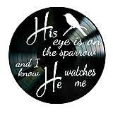 His Eye is on the Sparrow Christian song lyrics on a Vinyl Record Wall Decor