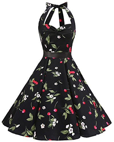 Bbonlinedress Women's Vintage Halter Polka Dots 1950s Audrey Rockabilly Cocktail Swing Tea Dresses Black Cherry (Cherry Halter Dress)