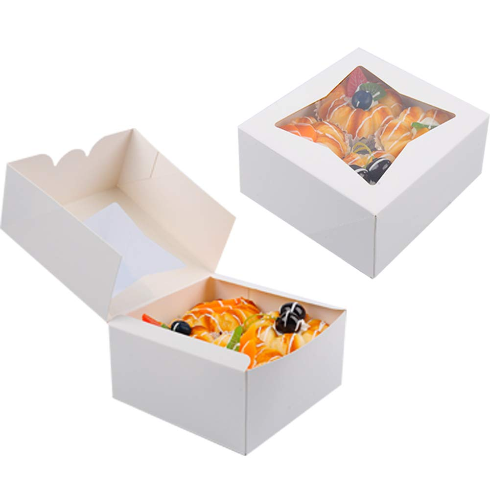Aoligo 30PCS Bakery Pie Boxes with Window Kraft Paperboard Pastry Box Cookie Boxes 6x6x3 inches (White)