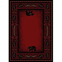 Woodlands Plaid American Destination Rug - 53 by 73- Wilderness Cabin Black Bear Lodge Pine Cone Canoe Leaf Stain Resistant