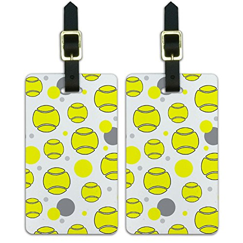 Graphics & More Luggage Suitcase Carry-on Id Tags-Tennis-Cartoon Ball, White