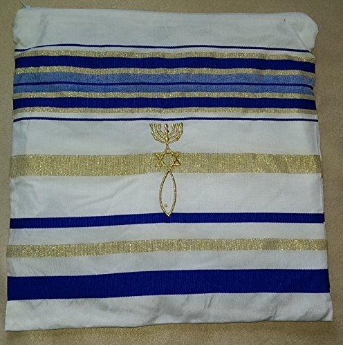 Zuluf Mens Messianic Shawl / Tallit - The Messiah Tallit Royal Blue / Gold … HLG023