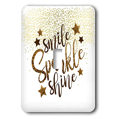 3dRose Lens Art by Florene - Everything Gold - Image of Words Smile Sparkle Shine In Gold Glitter On Dotted Gold - Light Switch Covers - single toggle switch (lsp_291037_1)
