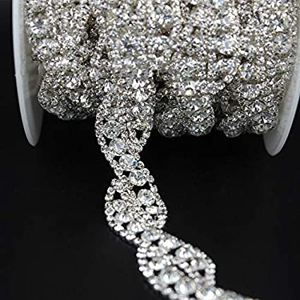 Image Unavailable. Image not available for. Color  Rhinestone Chain Trim  with Crystals for Wedding Dress ... 73bc76f599c3