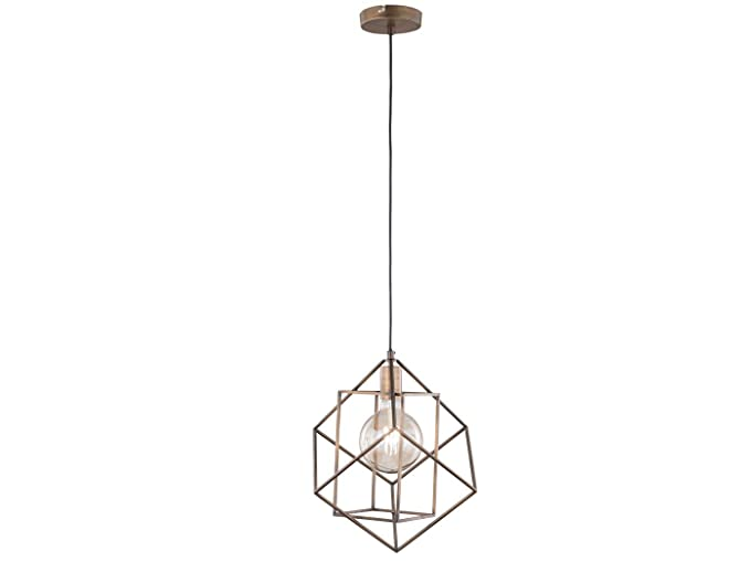 Lámpara colgante retro con pantalla de jaula marrón antiguo y ...
