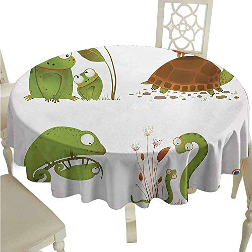 duommhome Reptile Waterproof Tablecloth Reptile Family Colorful Baby Collection Snake Frog Ninja Turtles Love Mother Easy Care D63 Green Brown Red]()