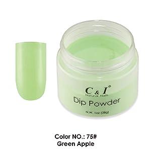C & I Dip Powder, Color No # 75 Green Apple, Nail Gel Effect Powder, Blue Color System, 1 oz 28 g