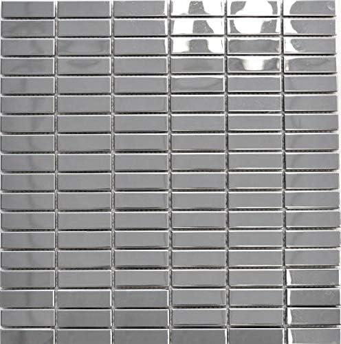 Azulejos de mosaico de acero inoxidable plateado espejos para azulejos ba/ño panel de mosaico para pared cocina 10 unidades rect/ángulo revestimiento de mosaico de acero brillante