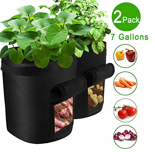 TQQFUN 2 Pack 7 Gallon Smart Potato Grow Bags Velcro Window Vegetable Grow Bags, Double Layer Premium Breathable Nonwoven Cloth for Potato/Plant Container/Aeration Fabric Pots with Handles(Black)