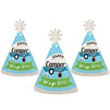 Big Dot of Happiness Happy Camper - Mini Cone Camping Baby Shower or Birthday Party Hats - Small Little Party Hats - Set of 10
