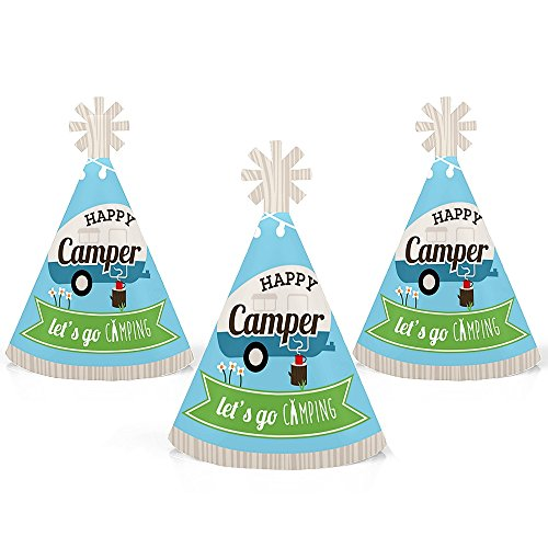 Big Dot of Happiness Happy Camper - Mini Cone Camping Baby Shower or Birthday Party Hats - Small Little Party Hats - Set of 10 by Big Dot of Happiness