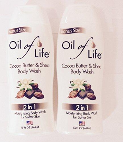 2pck - Oil of Life 2 in 1 Cocoa Butter & Shea Body Wash 15 fl. oz