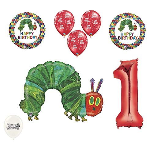 1st First Birthday The Very Hungry Caterpillar Balloons Party Bouquet Bundle]()