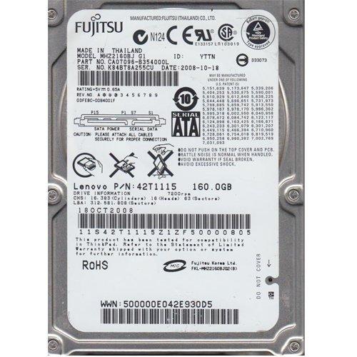 Mhz2160bj Fujitsu Mobile 160Gb 7200Rpm Sata Internal 2.5Inch Hard Dri