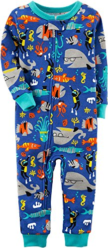 Carter's Baby Boys' 1-Piece Snug Fit Footless Cotton Pajamas (12 Months, Fishy) - Carters 1 Piece Cotton
