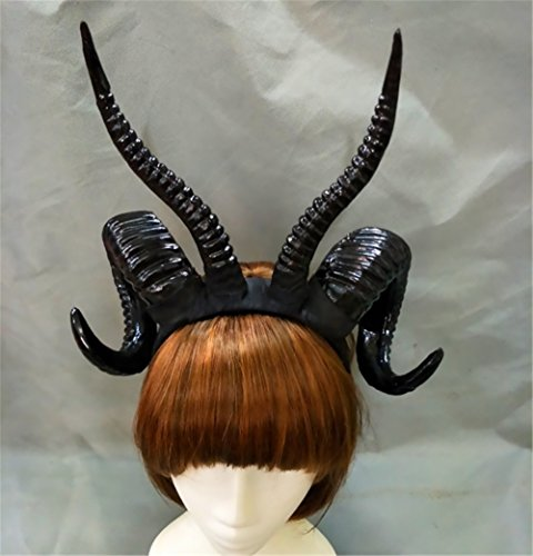 Gothic Antler Sheep Horn Hoop Headband Forest Animal Photography Manual Cosplay Headpieces Party Accessories (Black) -