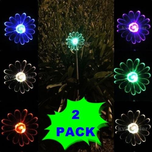 2-Pack Solar Powered Sunflower LED Garden Stake Color Changi