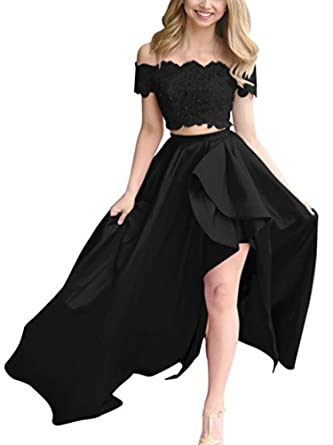 PROMLINK Lace High Low Prom Dress Two Piece Off Shoulder Evening Gown for Women