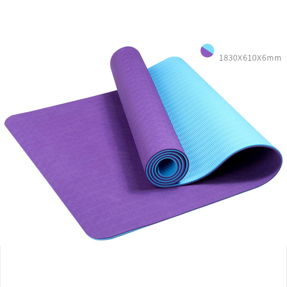 LS-Exercise Fitness Yoga Mat: Yoga Mat Thickening Widened Men and Women Beginners Fitness Multi-Function Double-Sided Non-Slip Yoga Mat [4 Color Optional]& (Color : Noble Purple)