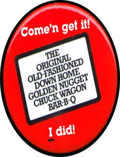 Golden Nugget Chuck Wagon Bar-B-Q pinback (Barbecue Wagon)