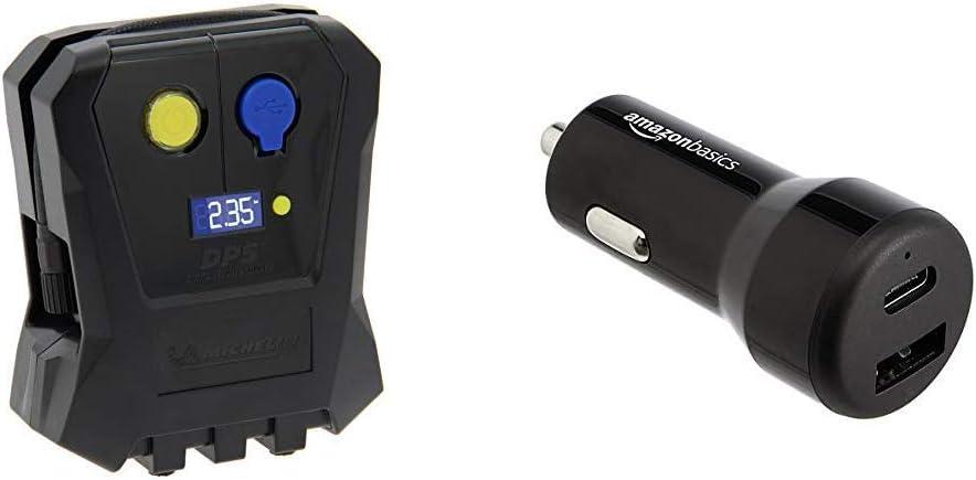 3,5 Bars Basics Chargeur pour Voiture USB-C 12 W et USB-A MICHELIN 009518 Mini Compresseur Digital pour Voiture 12V 15 W