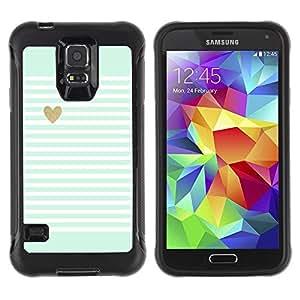 Suave TPU Caso Carcasa de Caucho Funda para Samsung Galaxy S5 SM-G900 / Heart Gold Lines Stripes White Pattern / STRONG